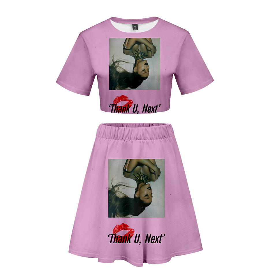 FADUN TOMMY Kawaii 3D Summer Ariana Grande Print Two Piece Sets Women Sexy Clothes 2019 Hot Sale Casual Harajuku Plus Size XXL