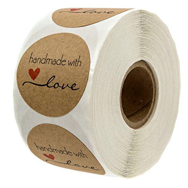 500PCS Runde Etiketten Handgemachte Kraft Papier Verpackung Aufkleber für Candy Dragee Tasche Geschenk Box Verpackung Tasche Hochzeit Dank Aufkleber