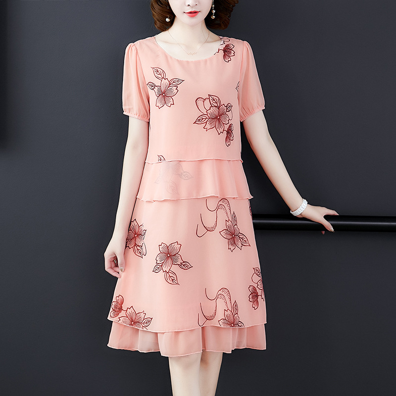WOMEN'S Dress Elegant Embroidered Chiffon Blouse Tops Skirt Embroidery Two-Piece Set Summer Dress 2019 New Style