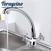 Torayvino RU luxury Kitchen Sink tap grifo de cocina agua fria caliente rotate Chrome Mixer Tap brass Dual Handle faucet