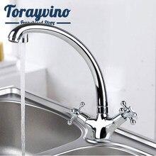 Torayvino ru luxo torneira da pia cozinha grifo de cocina agua fria caliente girar chrome mixer latão dupla alça torneira