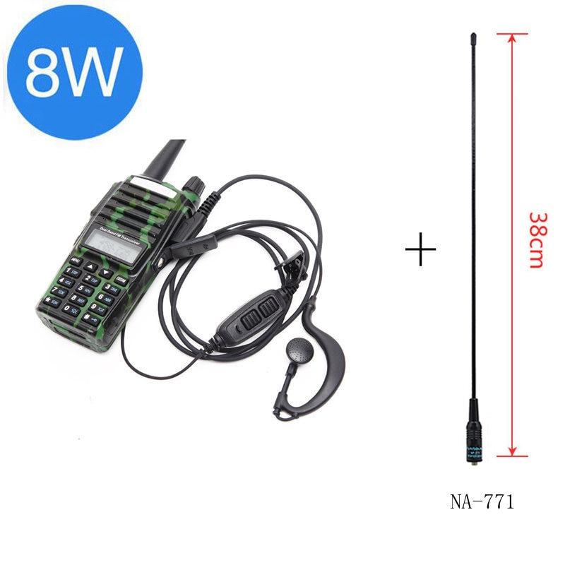 Baofeng UV-82 Plus 8 Вт 10 км Большая дальность мощная портативная рация CB vhf/uhf двухстороннее радио Amador 8 Вт UV82 Plus - Цвет: camo antenna