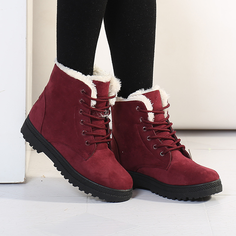 Women Ankle Boots Genuine Leather Female Winter Warm Boots Shoes Women Flat Lace Up Leather Shoes,Blue,10