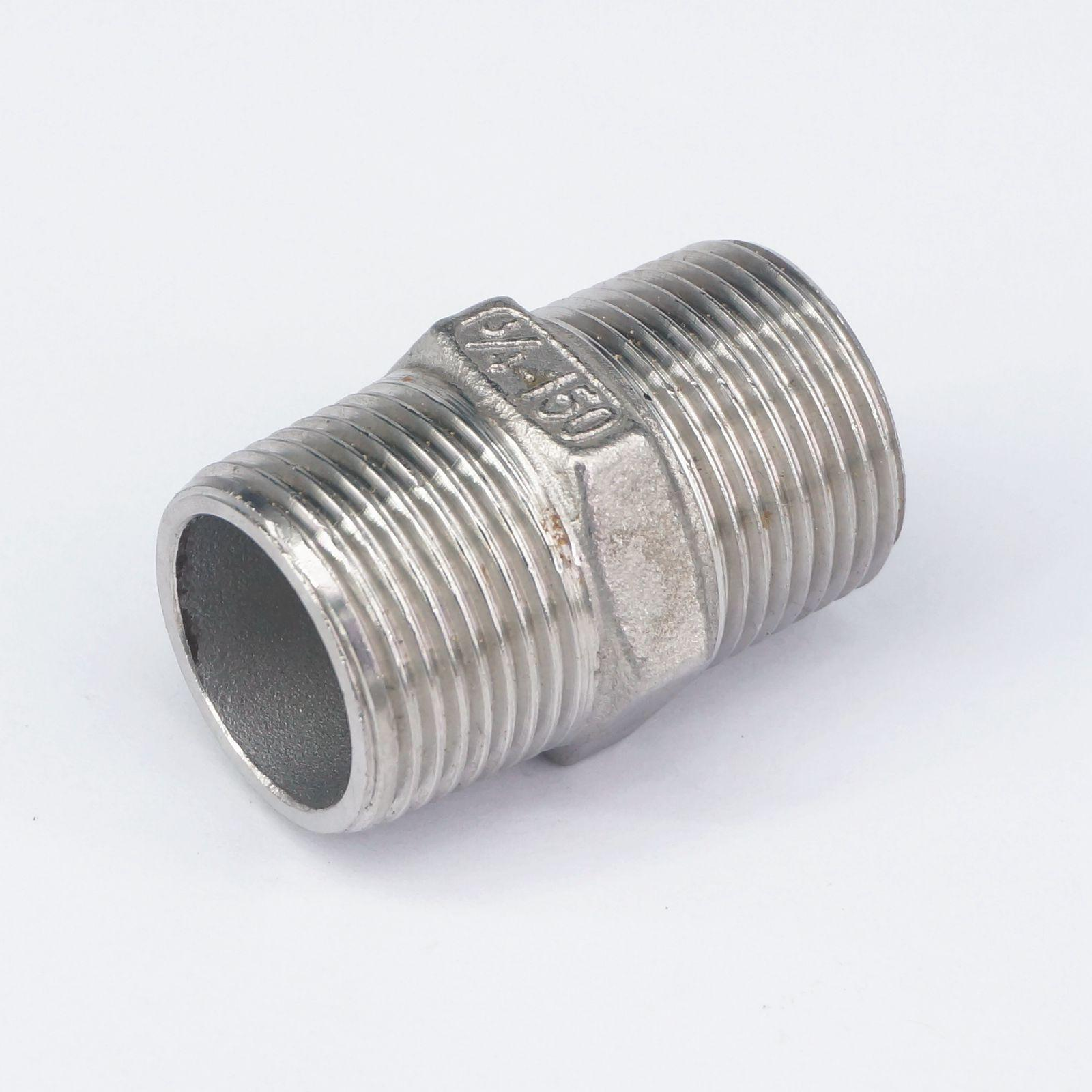 """3//4/"""" BSP Male Hex Nipple 304 Stanless Steel Pipe Fitting Connector 2855 PSI"""
