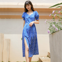 Puff Sleeve Sexy Split Summer Dress Women 2021 Korean Fashion Blue Floral Print Midi Casual Dresses Elegant Beach Robe
