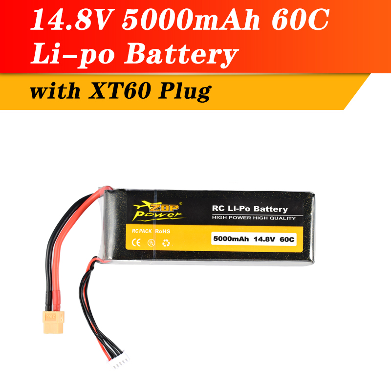 ZOP Power 14.8V 60C 5000mAh 4S Lipo Battery XT60 Plug Rechargeable battery for RC Racing Drone Quadcopter Helicopter Car Boat image
