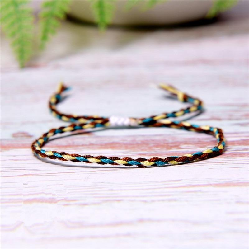 Tibetan Buddhist Handmade Color Cotton Rope Bracelet Lucky Friendship Thread Bracelets & Bangles For Women Men