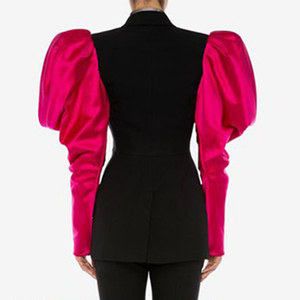 Image 4 - TWOTWINSTYLE Patchwork Hit Color Womens Blazer Puff Sleeve Notched Female Blazers 2020 Autumn Plus Size Fashion New Clothing