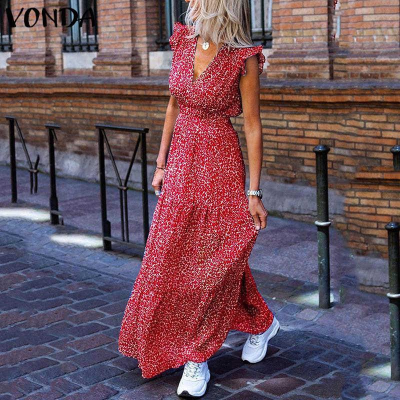 Vonda Bohemian Summer Dress 2020 Sexy V-hals Mouwloos Vintage Bloemen Gedrukt Lange Maxi Jurken Plus Size Strand Holiday Vestido