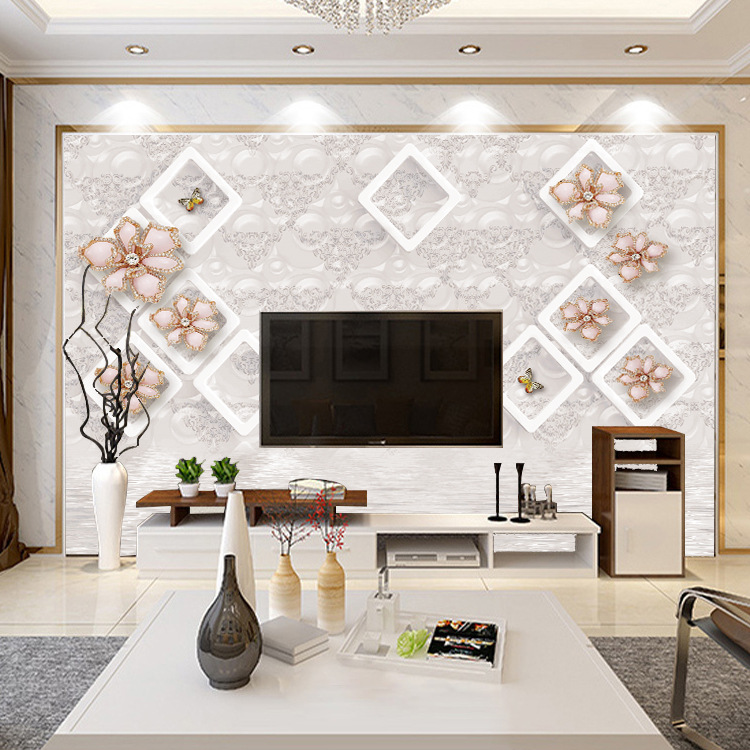 TV Backdrop European Style Wallpaper 5D Minimalist Modern Living Room Solid Color 3D Bedroom Mural Nonwoven Fabric Wall Cloth Mu