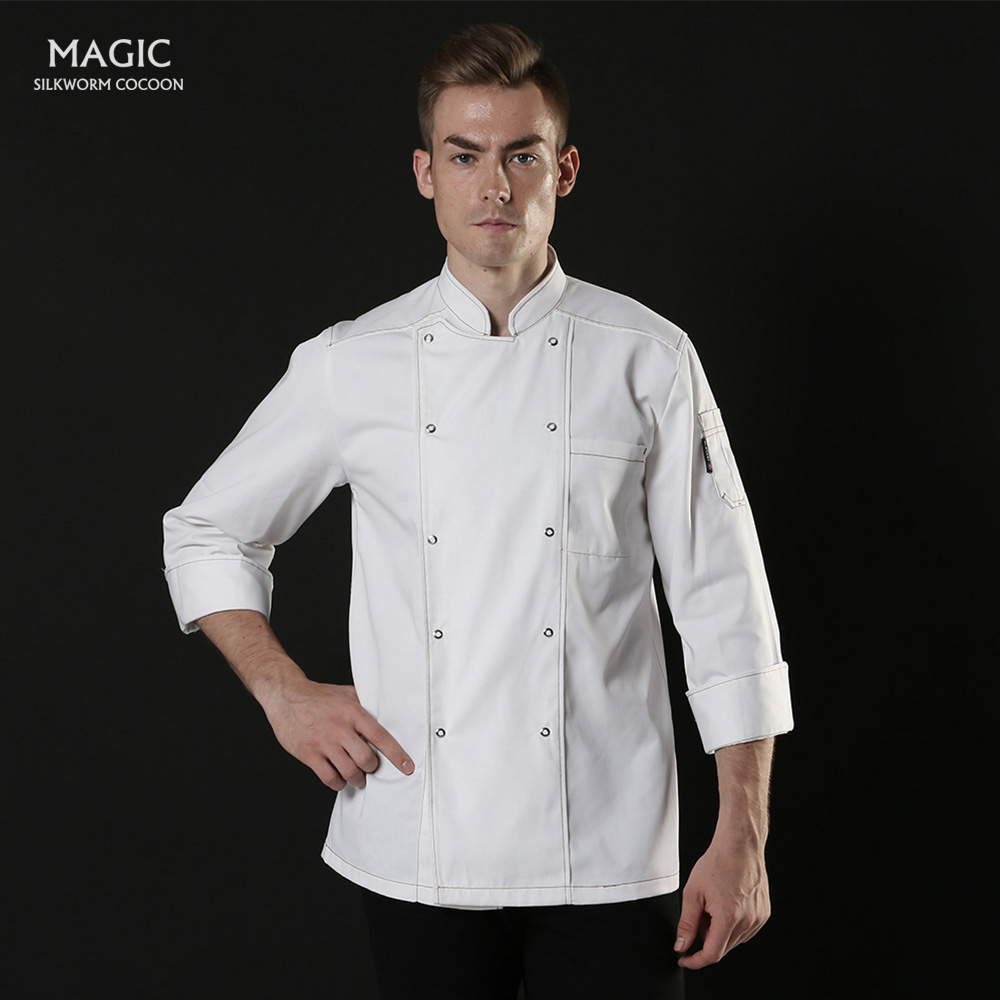 Chef Uniform Catering Services Chef Long Sleeve For Unisex  Hotel Bakery Chef Overalls Black / White Jacket Restaurant Uniforms