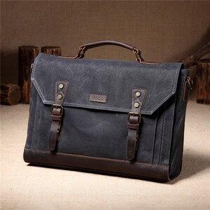 Image 2 - 남자에 대 한 VASCHY 캔버스 메신저 가방 빈티지 가죽 가방 남자 왁 스 캔버스 서류 가방 남자에 대 한 17.3 인치 노트북 사무실 가방
