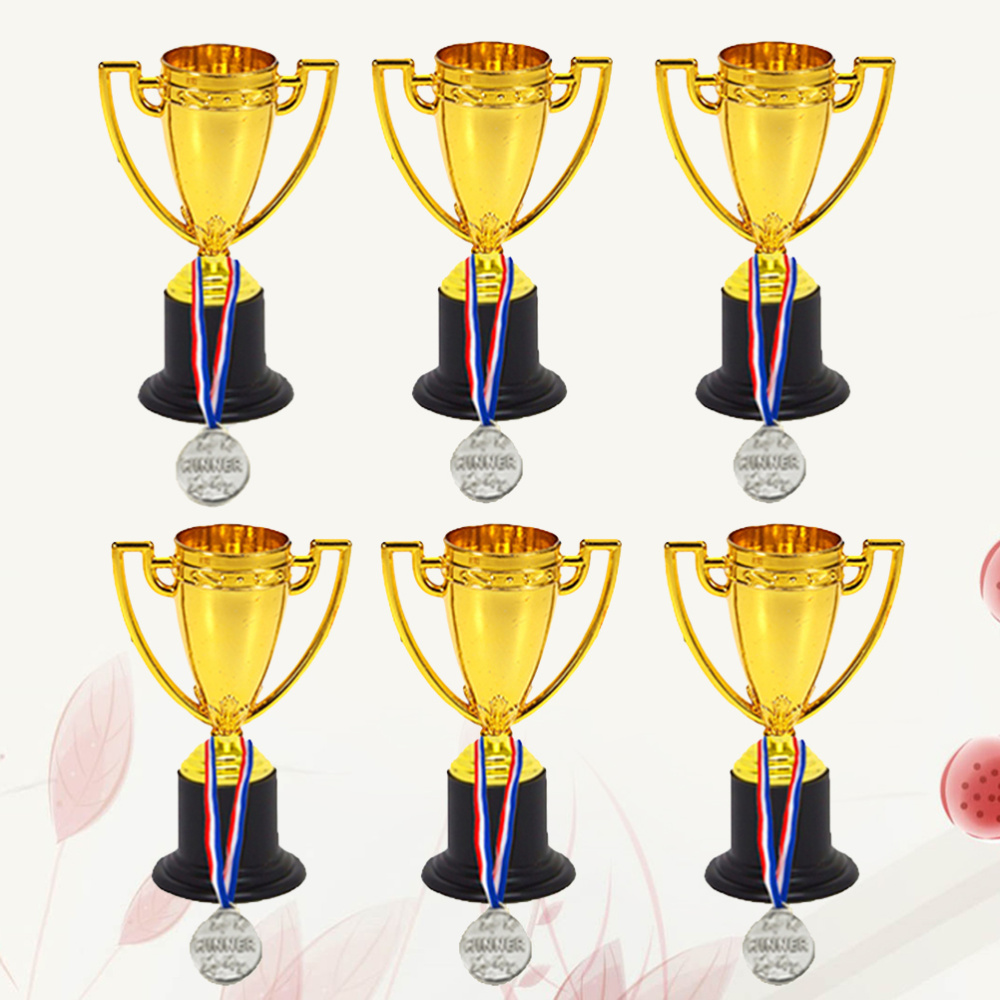 12pcs Mini Gold Cups Trophy and Award Medals Prizes Small Medals Gift Awards Trophy Toys for Students Sport(6pcs Trophie