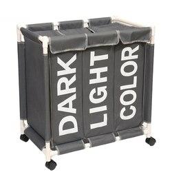 Büyük kapasiteli haddeleme çamaşır sepeti organizatör 3 ızgara çamaşır sepeti kutusu su geçirmez çamaşır torbaları kirli giysi saklama kutusu
