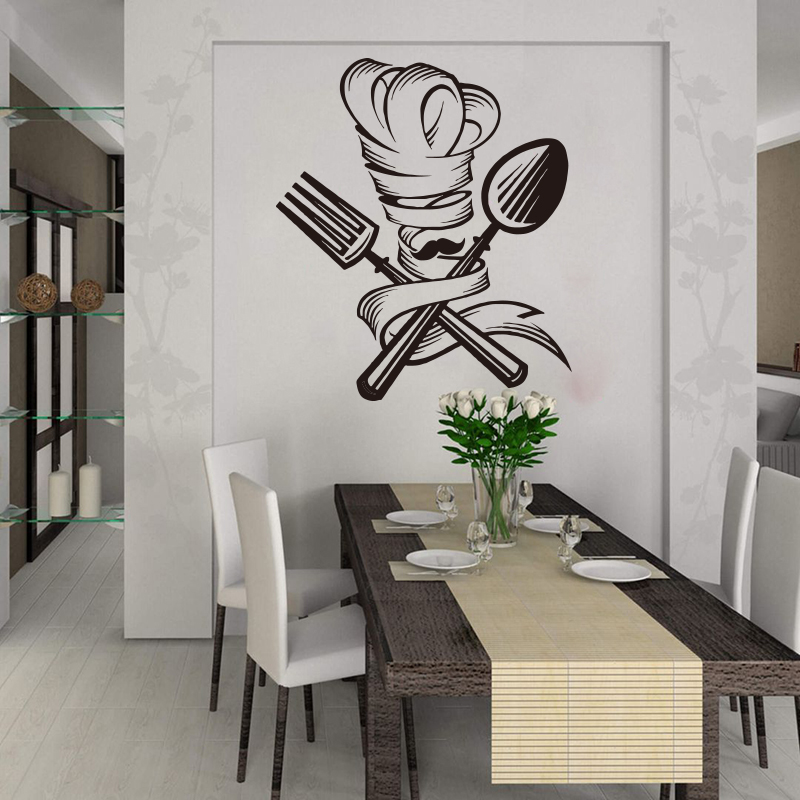 Kitchen Dinning Room Chef Beard Tools Home Decor Spoon Fork Moustache Hat Wall Sticker Vinyl Poster XL112