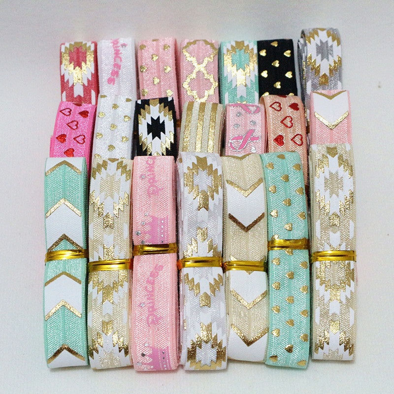 5yards/lot 5/8'' (16mm) Printed Elastic Ribbon Foe Fold Over Elastic Stretch Band Diy Crafts For Clothing Baby Headband Material