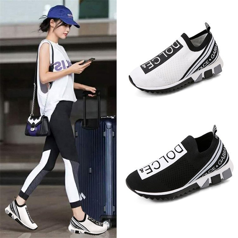 Large Size Men And Women Breathable Mesh Flat Shoes 2020 Summer Non-slip Knitted Soft Bottom Casual Sports Shoes Women's Shoes