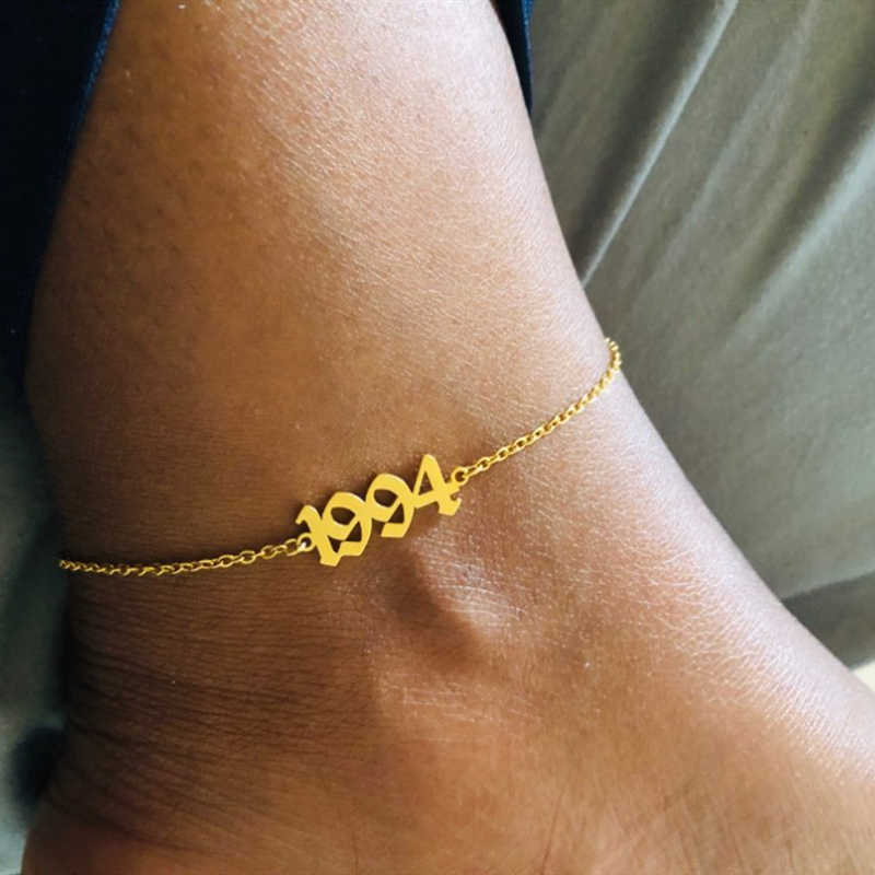 Birth Year Anklets For Women Foot Jewelry Stainless Steel Old English Numbers Numerals Leg Chain Bracelet Birthday Gifts