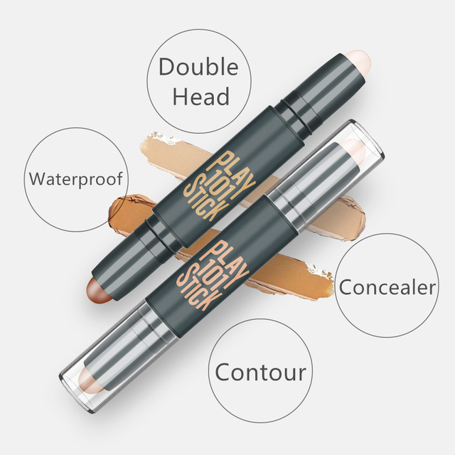 Women Highlighter  Eye Face Concealer Stick Contouring Bronzers Green Pencil Cosmetic 3D Makeup Corrector Contour Stick 4