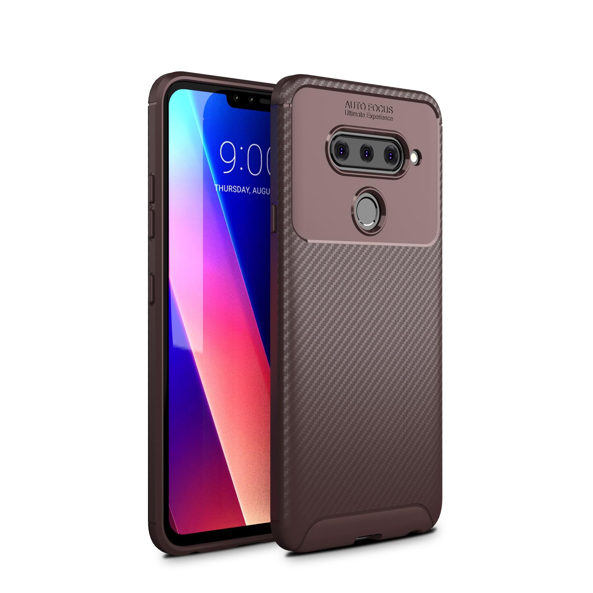 Brushed Texture Case For LG V40 Phone Case Soft TPU Back Cover Coque For LG V40