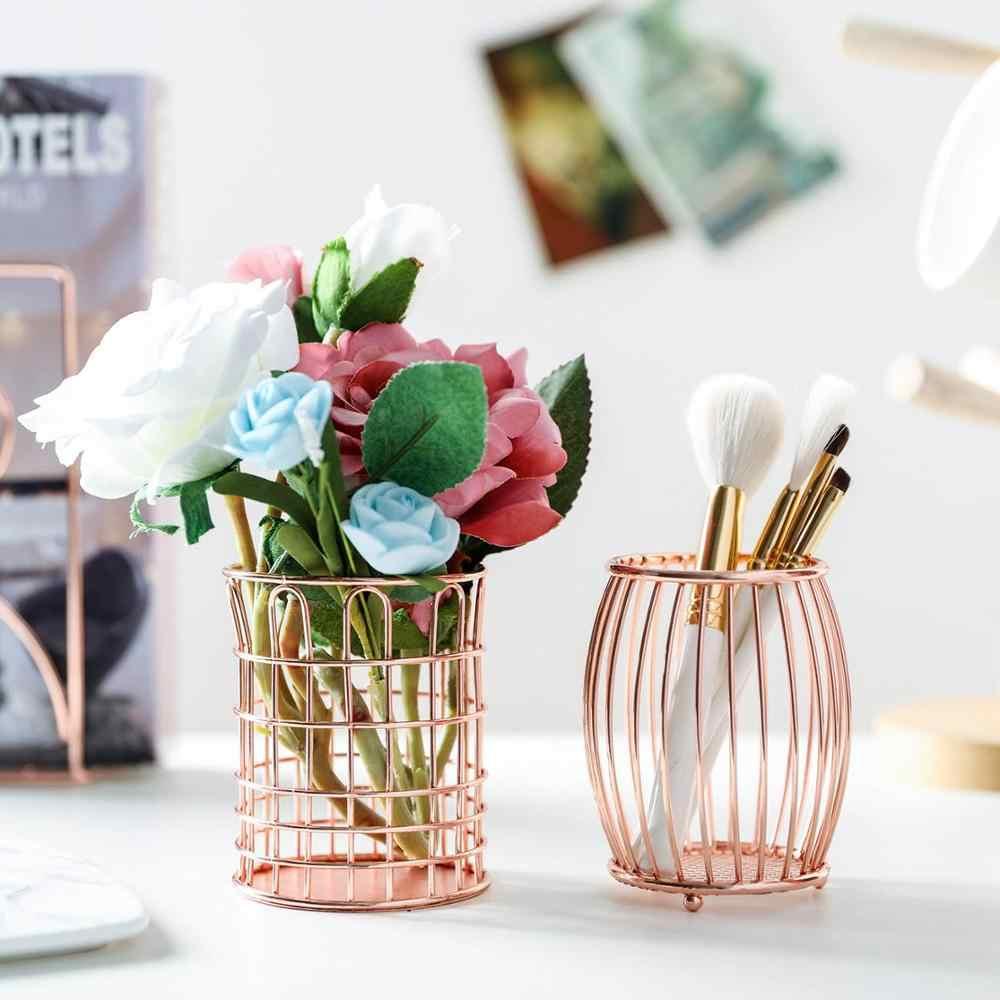 Rose Gold Hollow Pen Pencil Pot Holder Makeup Brushes Storage Desk
