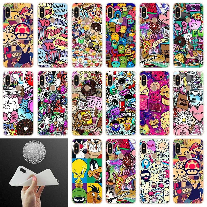 graffiti Soft Case <font><b>Cover</b></font> For Xiaomi <font><b>Redmi</b></font> 8a <font><b>7a</b></font> 6pro 6a s2 5a 5plus y3 Note 9 8 7 6 5 4 Pro Coque Funda Etui <font><b>Phone</b></font> Cases image