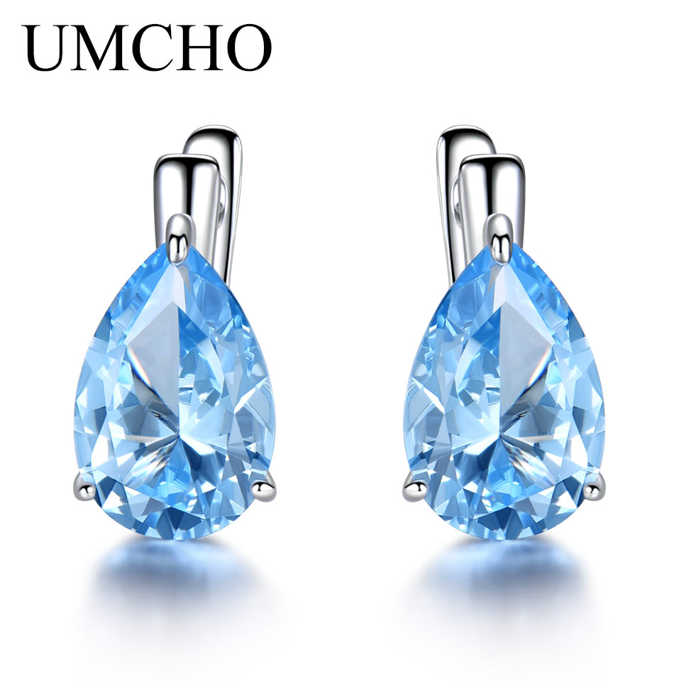 UMCHO Luxury Nano Gemstone Blue Topaz Clip Earrings For Women 925 Sterling Silver On Water Drop Fine Jewelry Gift