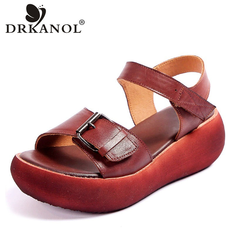 DRKANOL 2021 New Retro Summer Women Sandals 100% Genuine Leather Open Toe Shoes Casual High Heel Wedges Platform Sandals Woman