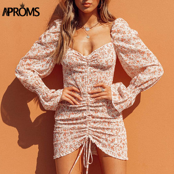 Aproms Elegant Sweet Purple Floral Print Chiffon Dress Women Spring Sexy Off Shoulder Long Sleeve Bodycon Dresses Vestidos 2020