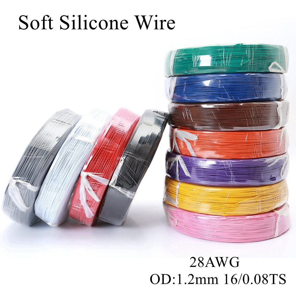 5m/lot <font><b>28AWG</b></font> <font><b>Silicone</b></font> Wire Ultra Flexible Test Line Silica Gel Cable High Temperature Wires Soft Tinned Copper Model Conductor image