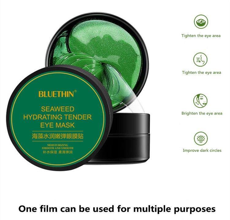 60pcs/box Collagen Moisturizing Eye Golden Mask Green Seaweed  Anti-aging Eye Skin Remove Dark Circles Face Care Mask TSLM1-1