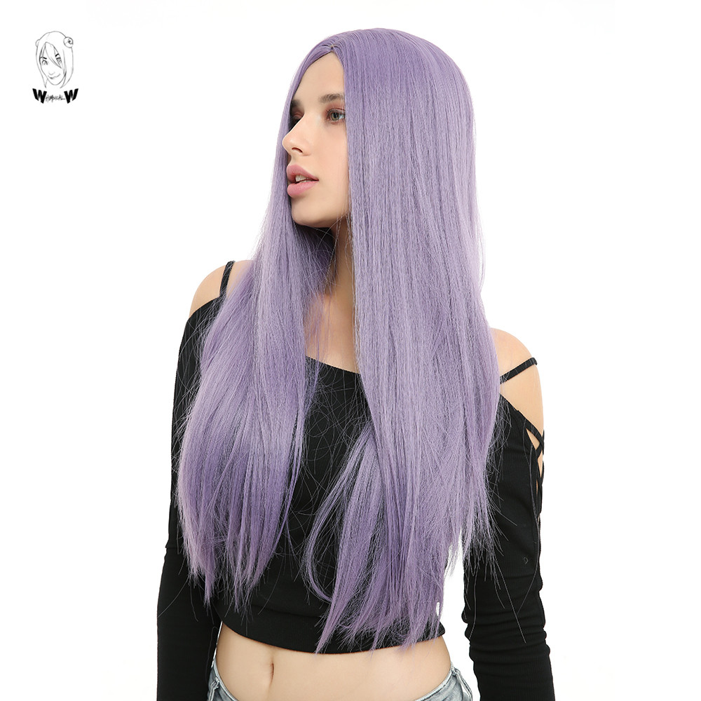 WHIMSICAL W 26 Inch Long Straight Wigs Natural Middle Part Light Purple Heat Resistant Hair Synthetic Wig For Women