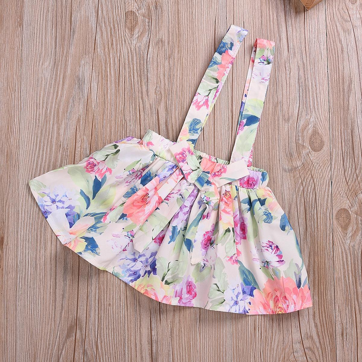 Cotton Printed Strap Dress Suit Girls Clothes L4.17 5