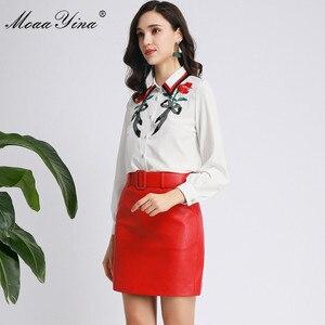 Image 4 - MoaaYina Fashion designerski strój wiosna jesień kobiety z długim rękawem koszula haftowana topy + PU krótka spódnica elegancki dwuczęściowy zestaw