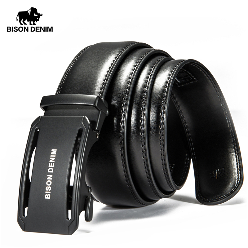 BISON DENIM Genuine Leather Male Belt Black Luxury Strap Belts For Men Cowskin Classic Fashion Pin Buckle Men Belt N71391