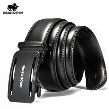 BISON DENIM Genuine Leather Male Belt Black Luxury Strap Bel