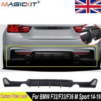 MagicKit Rear Bumper Diffuser For 14-20 BMW F32 F33 F36 4-Series 435i M Sport Carbon Look image