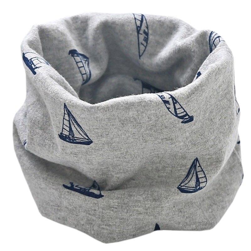 Новинка; Модный хлопковый шарф для маленьких девочек; осенне-зимний шарф для маленьких мальчиков; Детский шарф с круглым вырезом; Детские шарфы; волшебный шейный платок - Цвет: grey sailboat