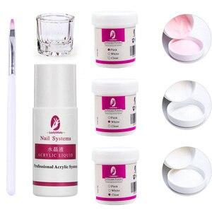 Image 2 - Polvo acrílico para esculpir uñas en 3D, polvo acrílico para salón de manicura, color rosa/Blanco/transparente