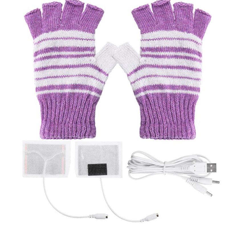 Women Men USB Powered Fingerless Heated Gloves Washable Knitted Stripes Computer Convertible Mittens Winter Outdoor Hand Warmer