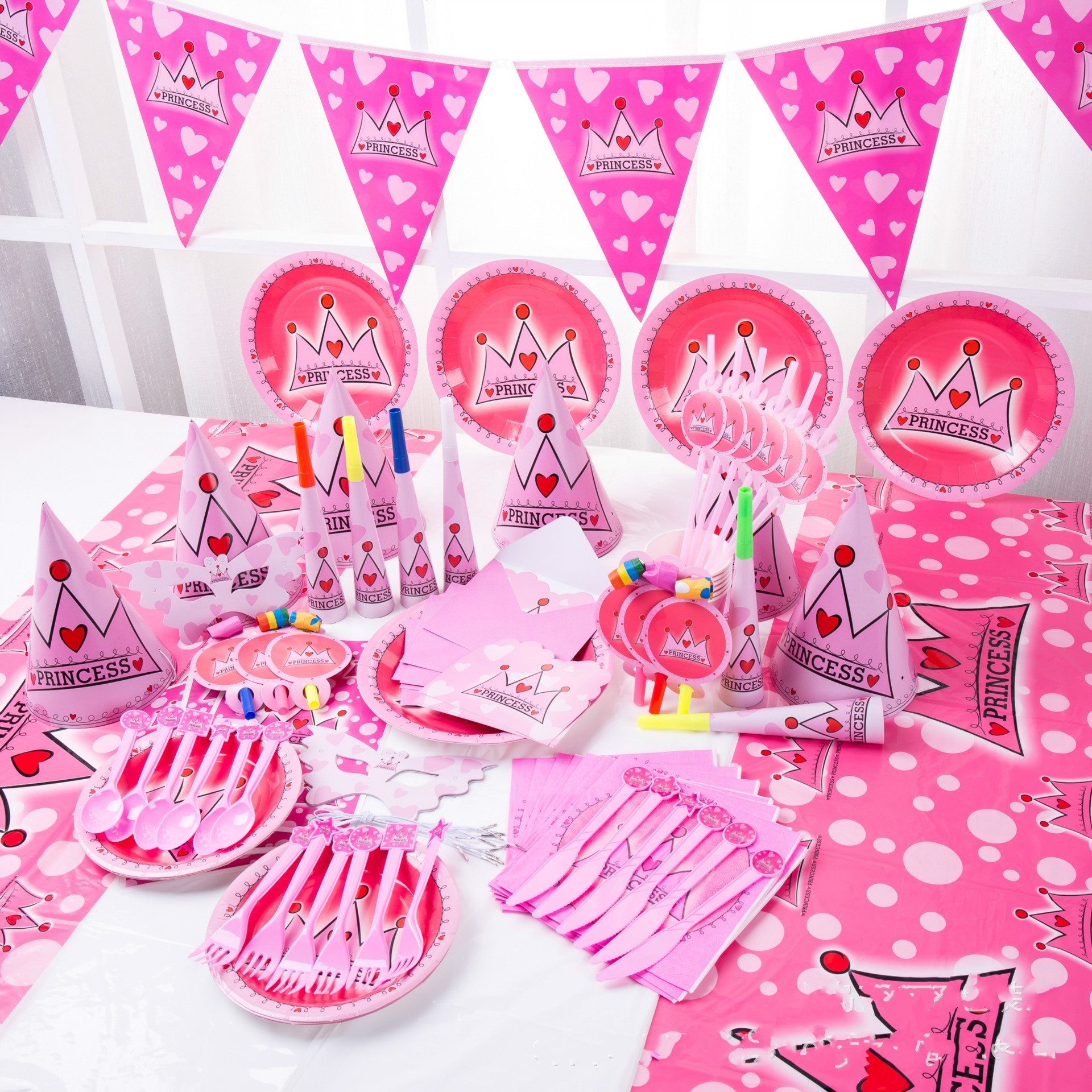 Baby Party Supplies Set 6 People  Crown Princess Theme Birthday Party Supplies Set Baby Gift Child Kids Girls Party Supplies Set