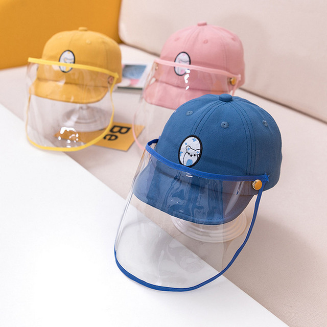 Cute Cartoon Detachable Anti Spitting Saliva Dust Hat Baseball Sun Protection Cap with Face Shield for Kids Children 1