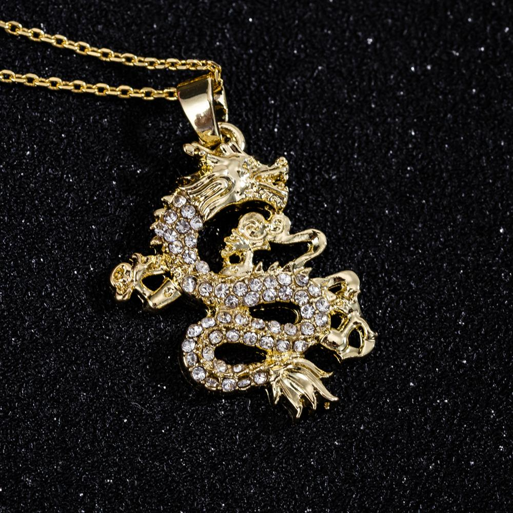 Zircon Filled Dragon Pendant Necklace for Women Men Gold Color Filled Necklace Wedding Birthday Gifts