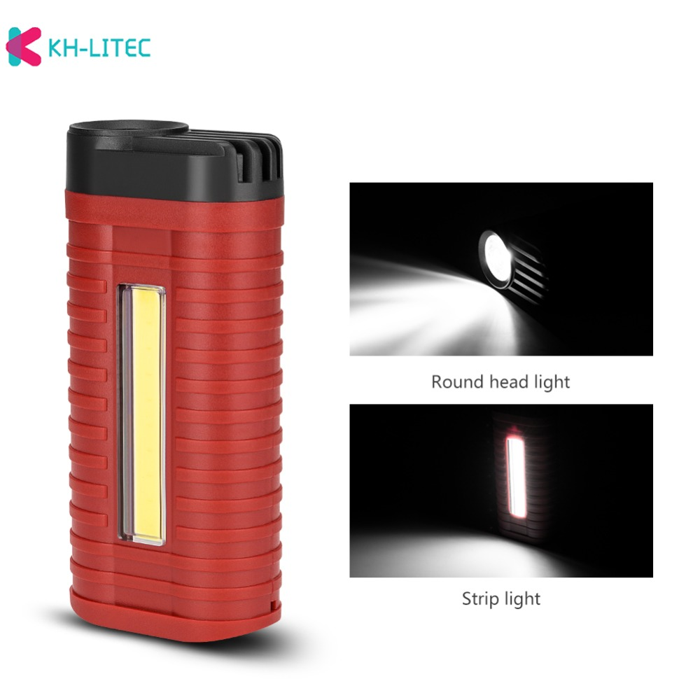 H5daf48e6412c4f2f80c9109f7835a2ebJ - Mini 2 Modes led work light Portable Light by 3*AAA Battery COB LED Flashlight Torch for Camping Hunting Outdoor