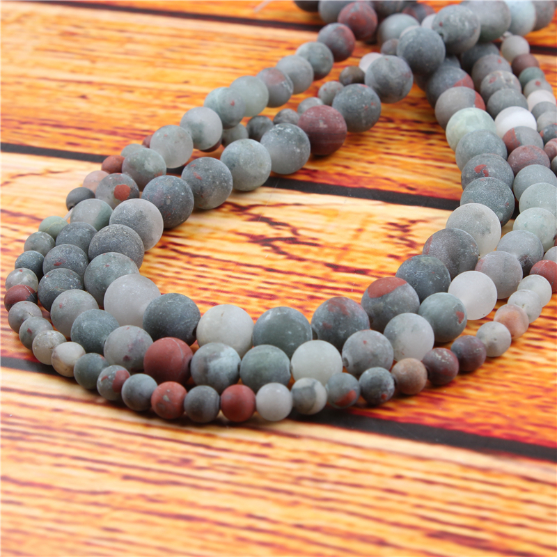 African Snow Stone Natural Stone Bead Round Loose Spaced Beads 15 Inch Strand 4/6/8/10/12mm For Jewelry Making DIY Bracelet