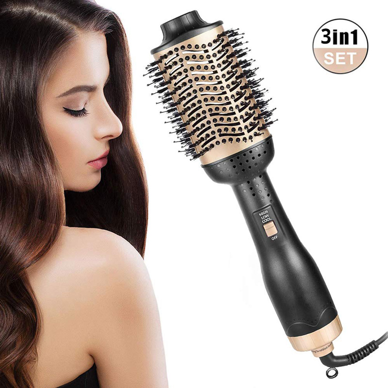 One-Step Hair Dryer & Volumizer Premium Hot Air Brush 3 In 1 Negative Ion Hair Straightener / Culer 3 Heat Setting Wet/Dry Using