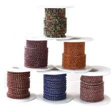 5 jardas/rolo base de prata garra densa vidro colorido costurar em strass copo corrente strass guarnição para acessórios beleza y2959