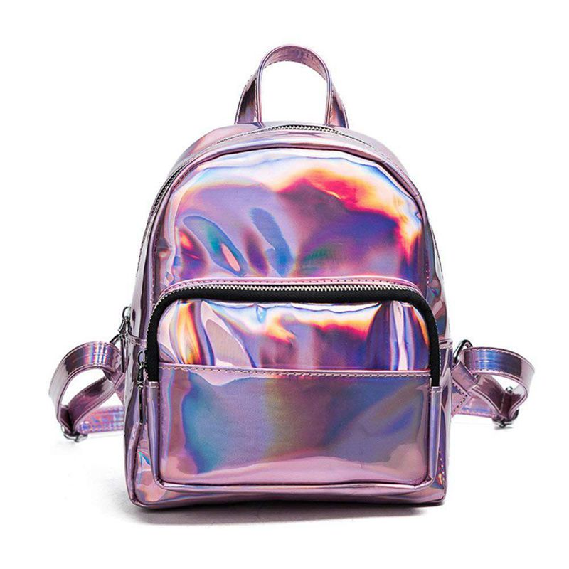 Holographic Leather Backpack For Girls Pink Mini Backpack For Women