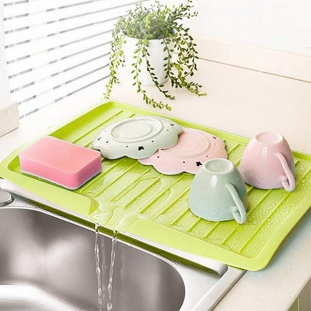 Drain Rack Plastic Dish Drainer Tray Sink Dryer Organizer Silicone Drying Mat Worktop Organizer For Kitchen Accessories 4
