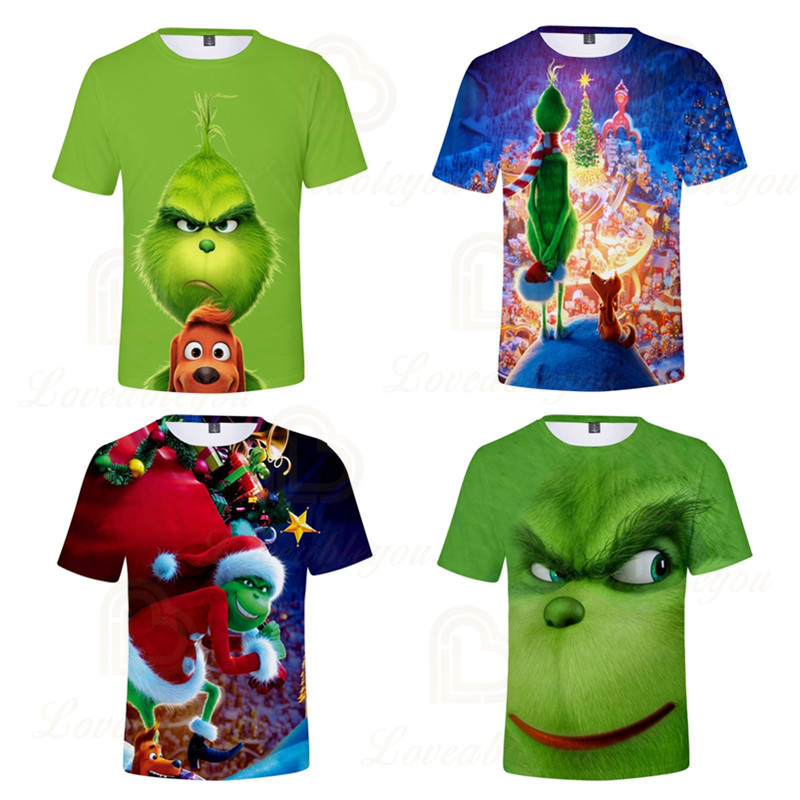 2020 Summer The Grinch Boy Girl T-shirt Kids 3D Printed T-shirts Children Casual Tshirt Short Sleeve Pullover Punk T Shirt image